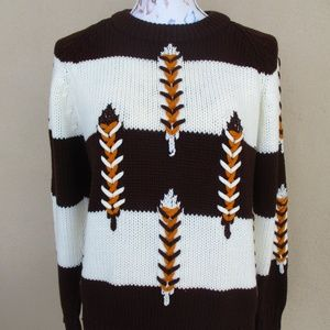 Vtg Brown Stripe Sweater Feather Ugly Grandma